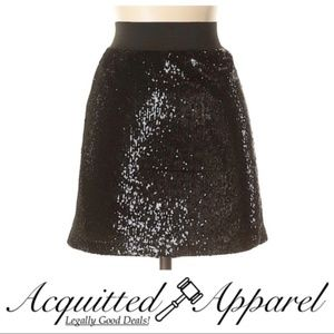 Aqua Sequined Black Blingy Skirt A Line Party
